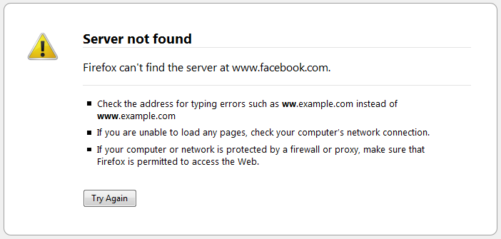 Facebook.com blocked