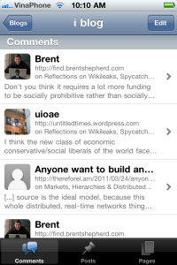 WordPress iPhone App